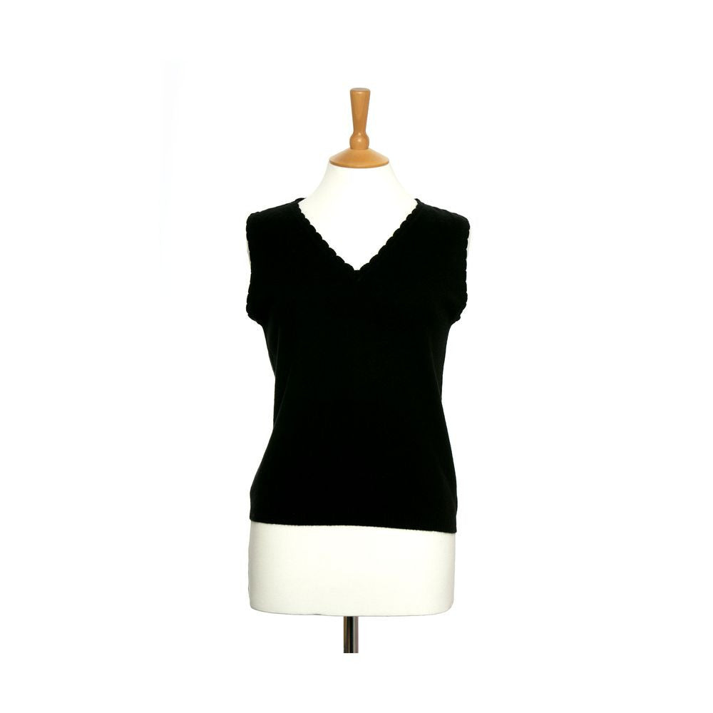women's v neck vest top black