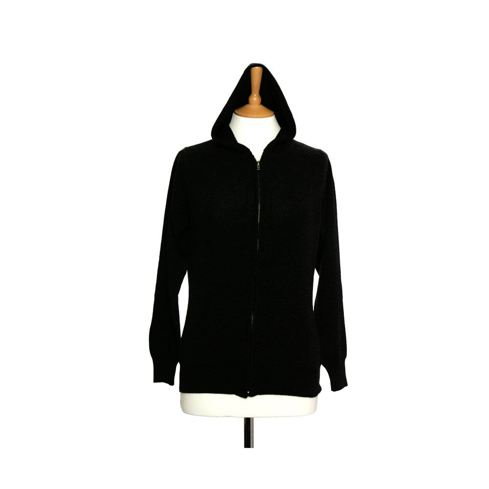 Women's Cashmere Hoody With Zip Black