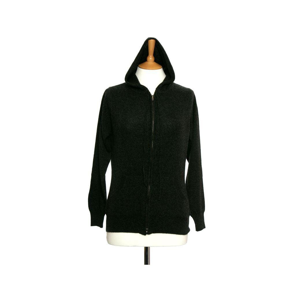 Women's Cashmere Hoody With Zip Charcoal