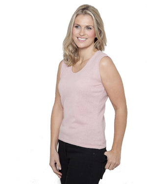women's cashmere vest top round neck pink