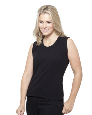 women's cashmere vest top round neck black