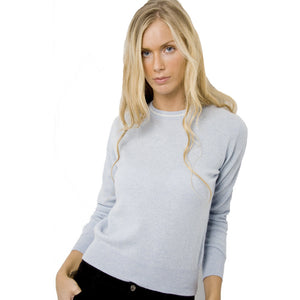 Women's Crew Neck Cashmere Jumpers Baby Blue