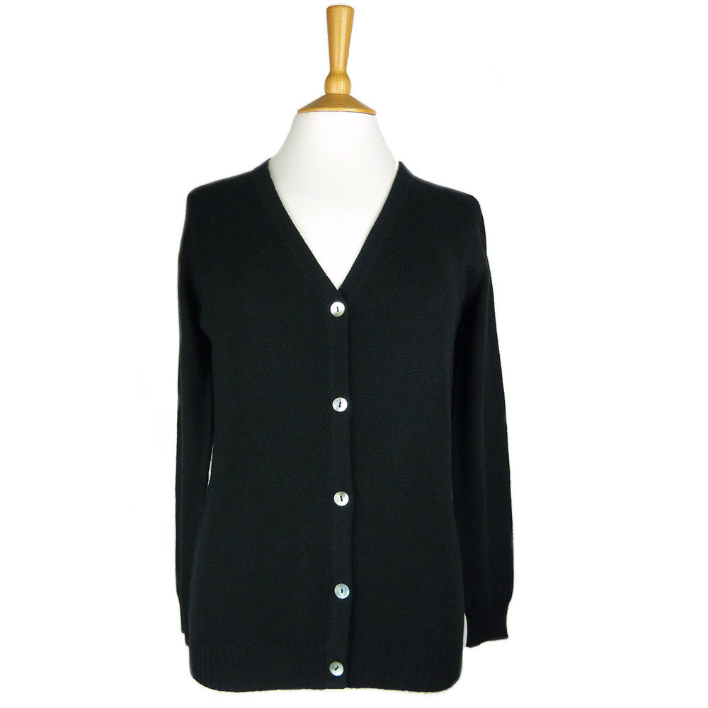 Women's Longer Length Cashmere Cardigans Black