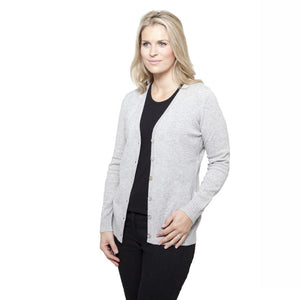 Women's Longer Length Cashmere Cardigans Silver Grey