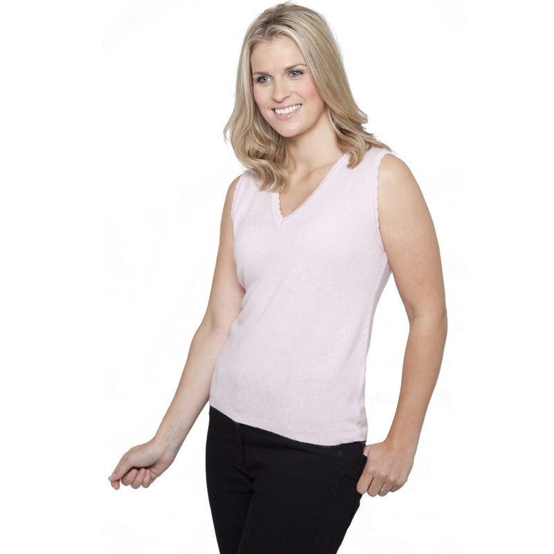 women's cashmere v neck vest top mustard