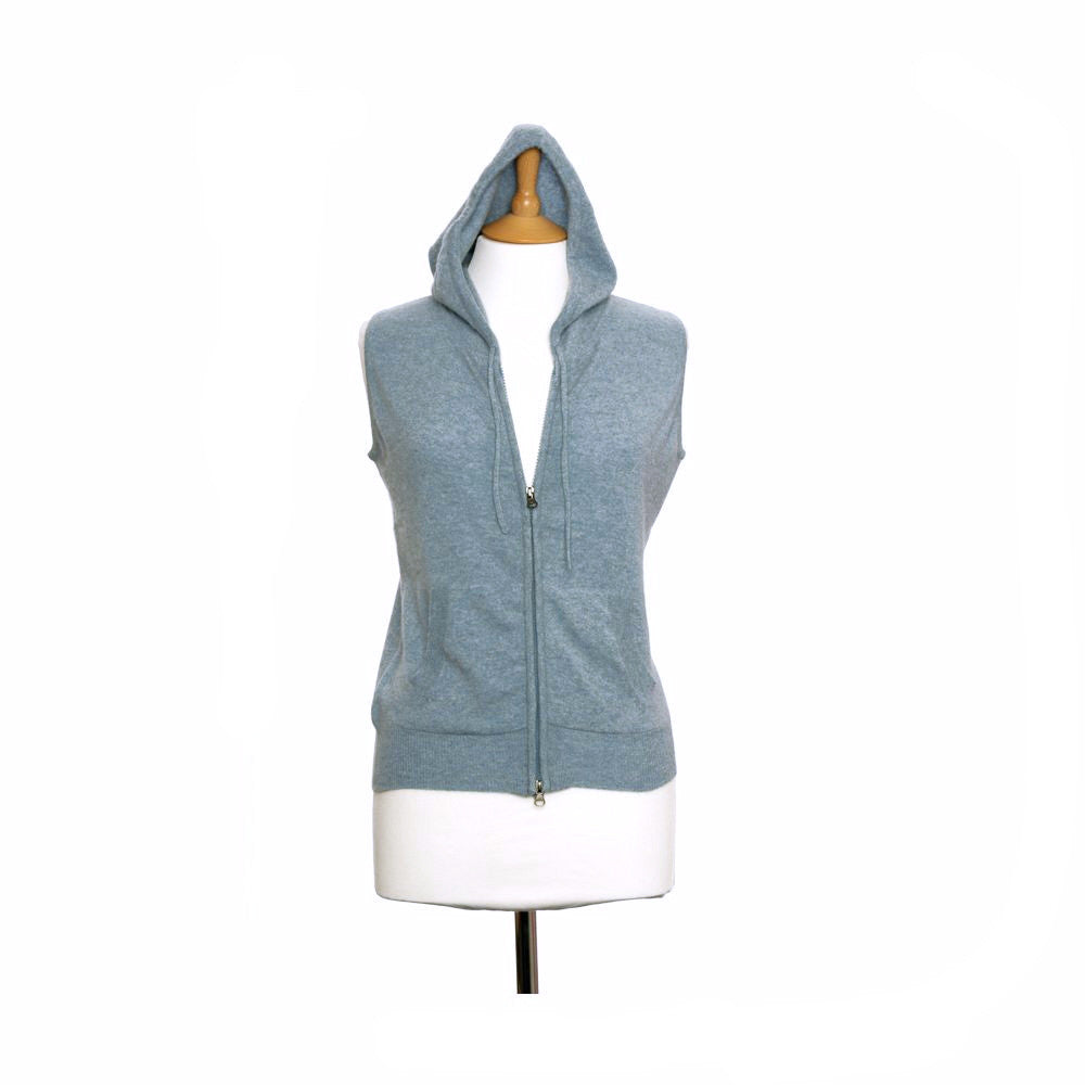 women's cashmere sleeveless hoodies chambray
