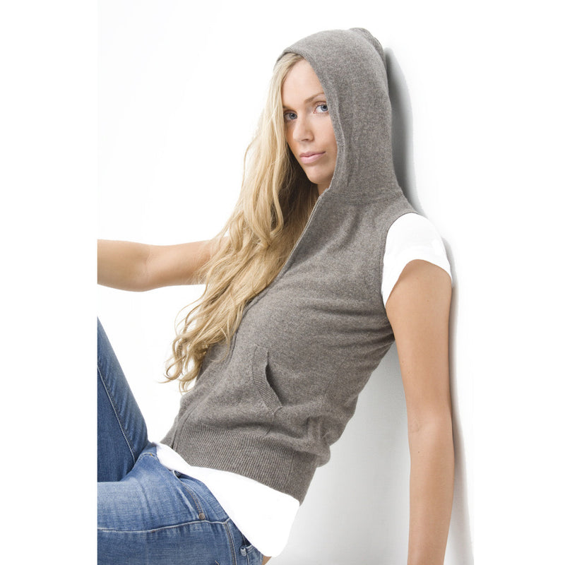 women's cashmere sleeveless hoodies toast