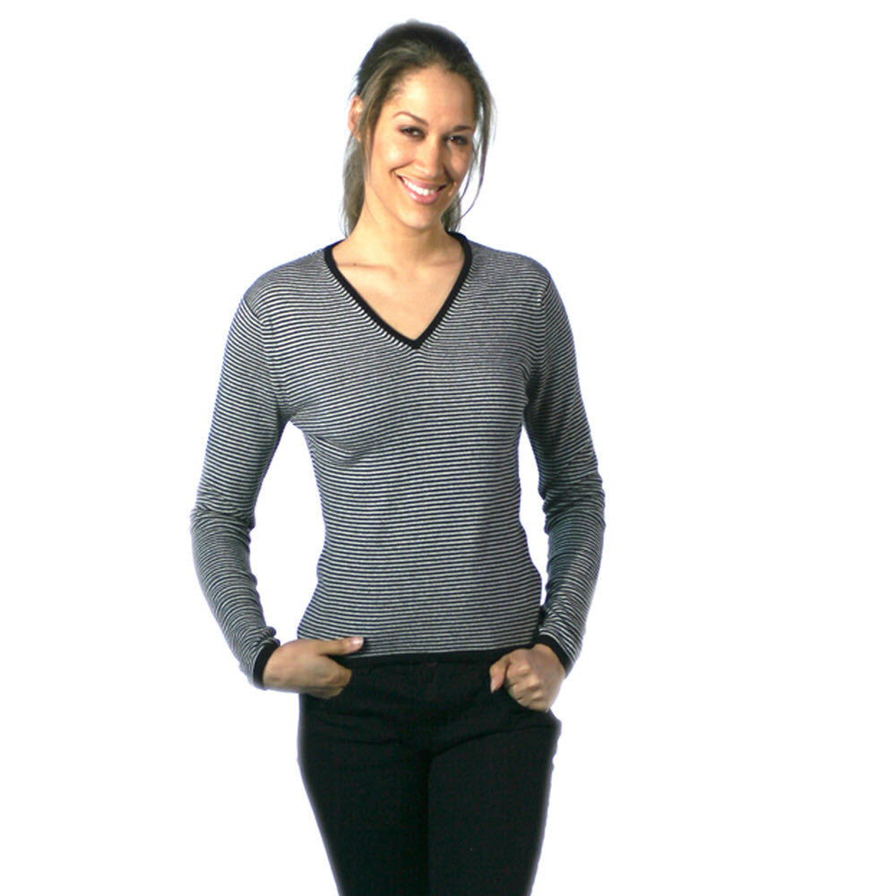 Women's Striped Cashmere Jumper Black and Snow
