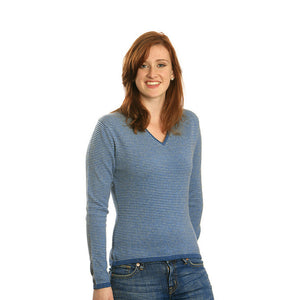 women's striped cashmere sweater blue