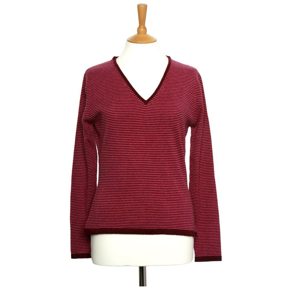 Women's Striped Cashmere Jumper Plum and Pink