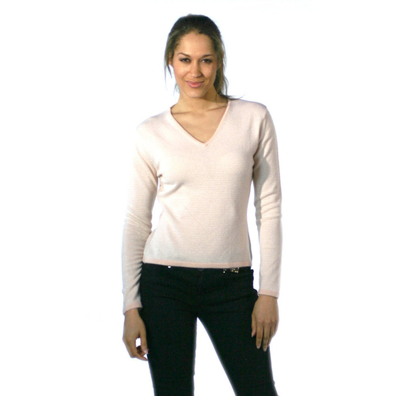 Women's Striped Cashmere Jumper Soft Peach and Snow