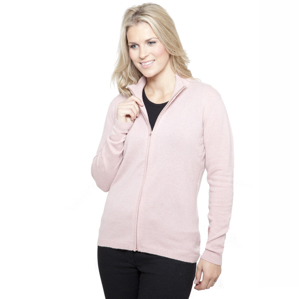 Women's Zip Up Cashmere Cardigans Dusky Pink