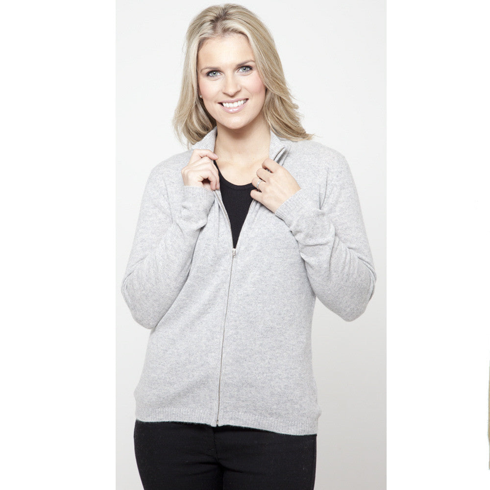 Women's Zip Up Cashmere Cardigans Silver Grey