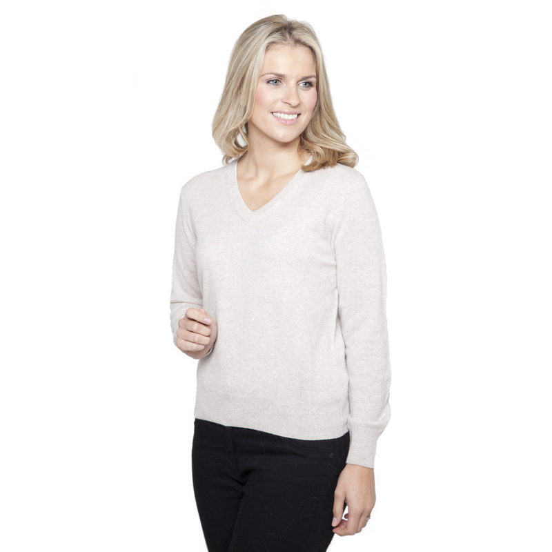 Women's Classic V Neck Cashmere Jumper Red