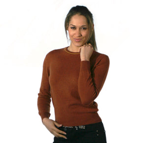 Women's Crew Neck Cashmere Jumpers Terracotta