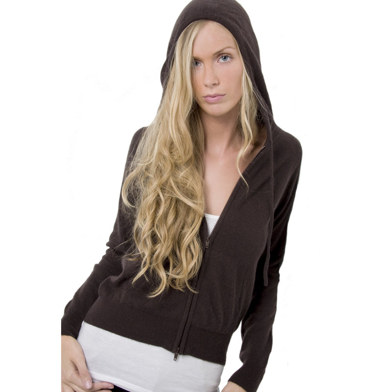 women's cashmere hoodies cocoa