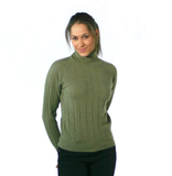 Polo Neck Cashmere Jumper Olive Green