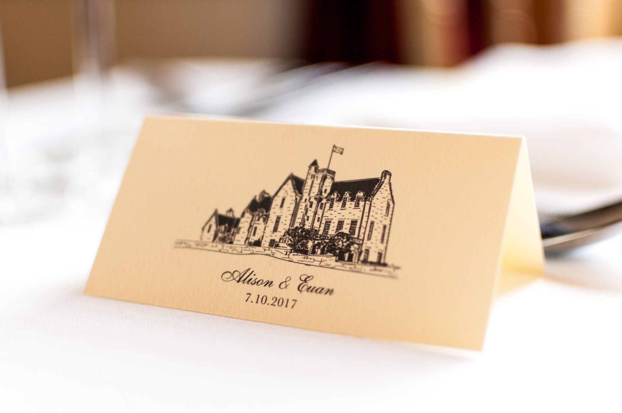 Rowallan Castle Wedding Place card