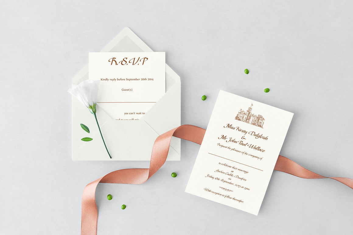 luxuryweddinginvitationsbycombossa HD Printed Wedding Invitations Auchen Castle Wedding Invitation, HD Digital Print