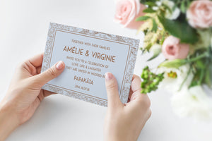 French Cool Blue Wedding Invitation, HD Digital Print