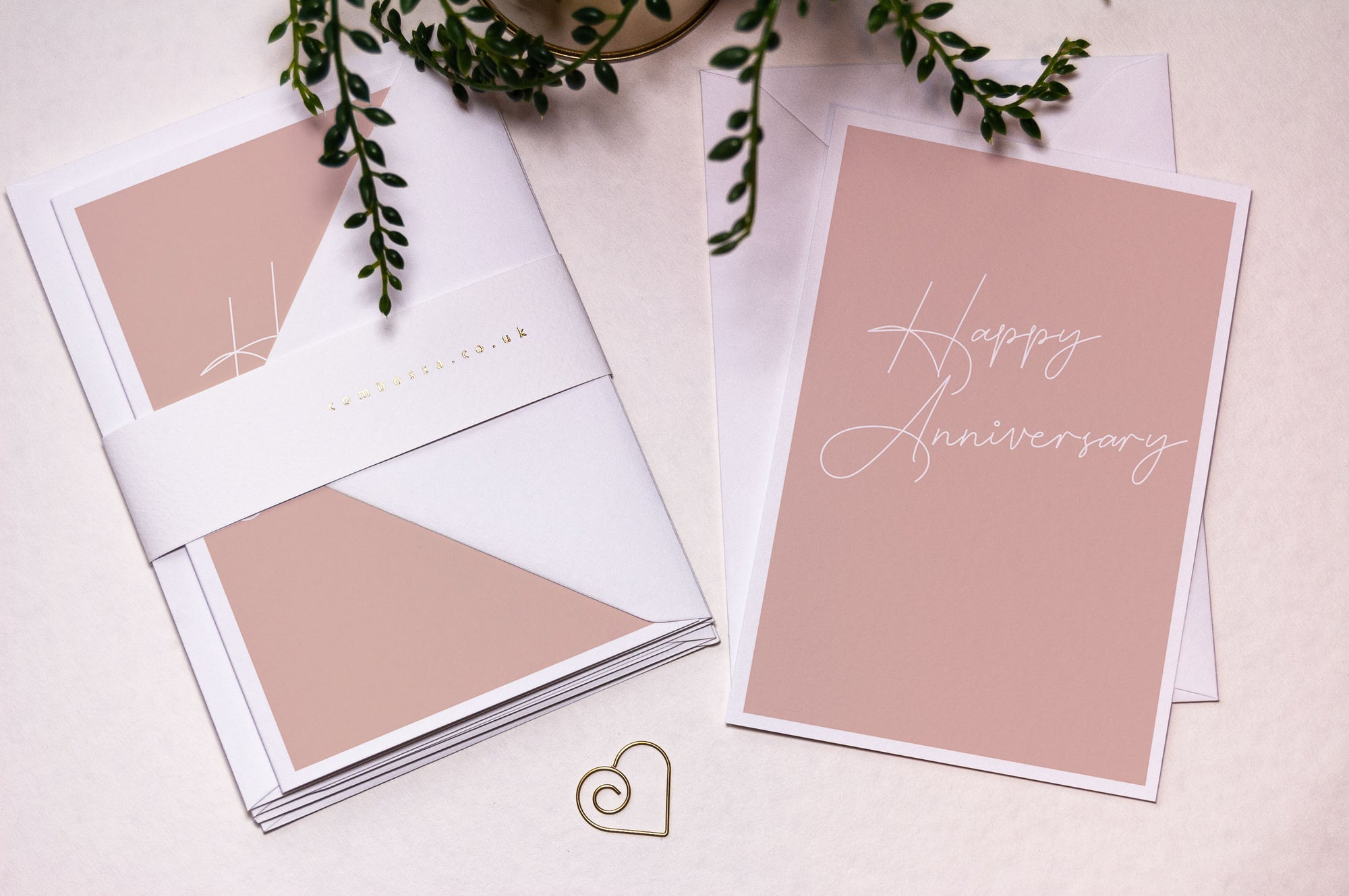 Script Happy Anniversary Card - Blush