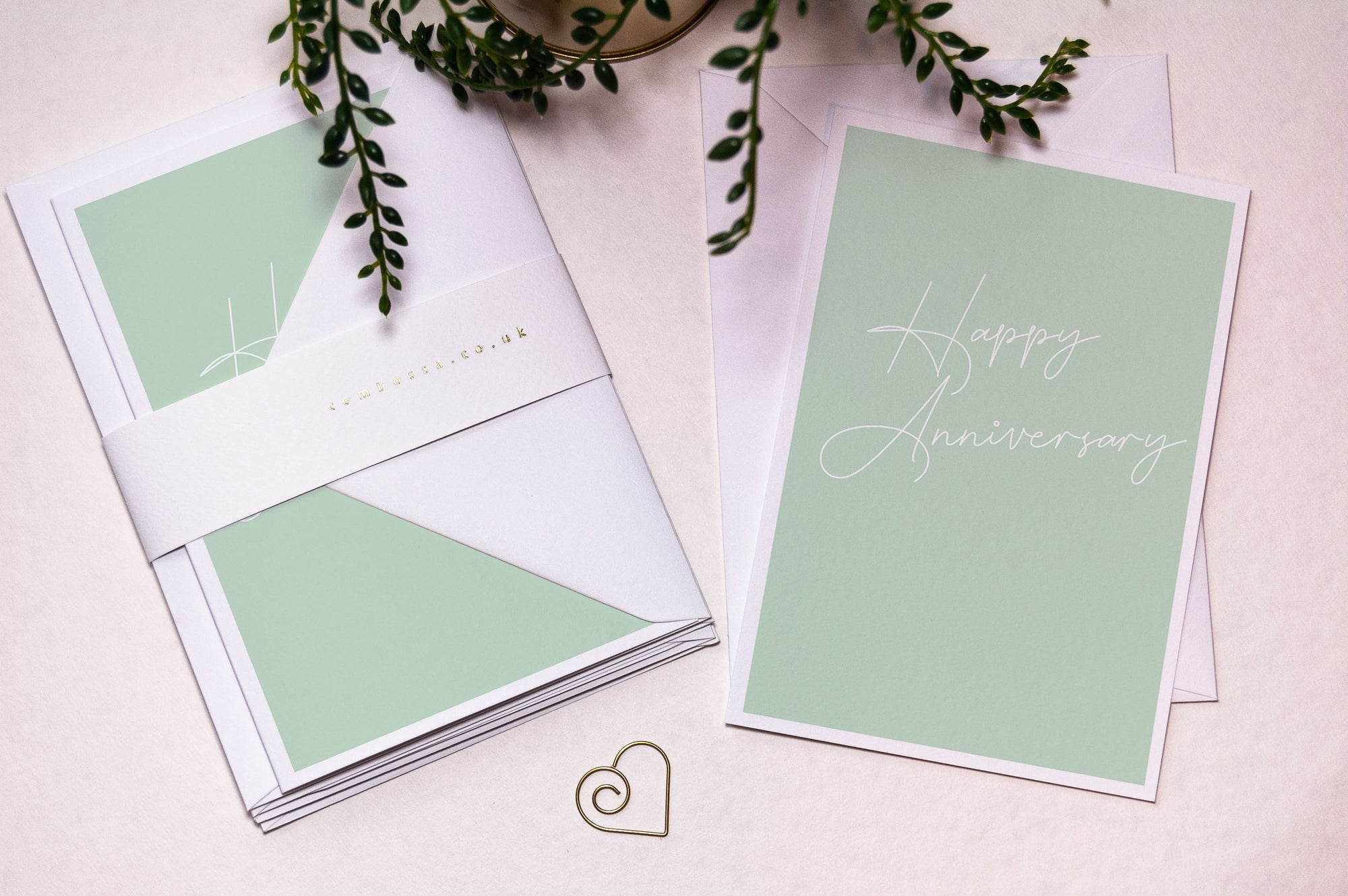 Script Happy Anniversary Card - Green