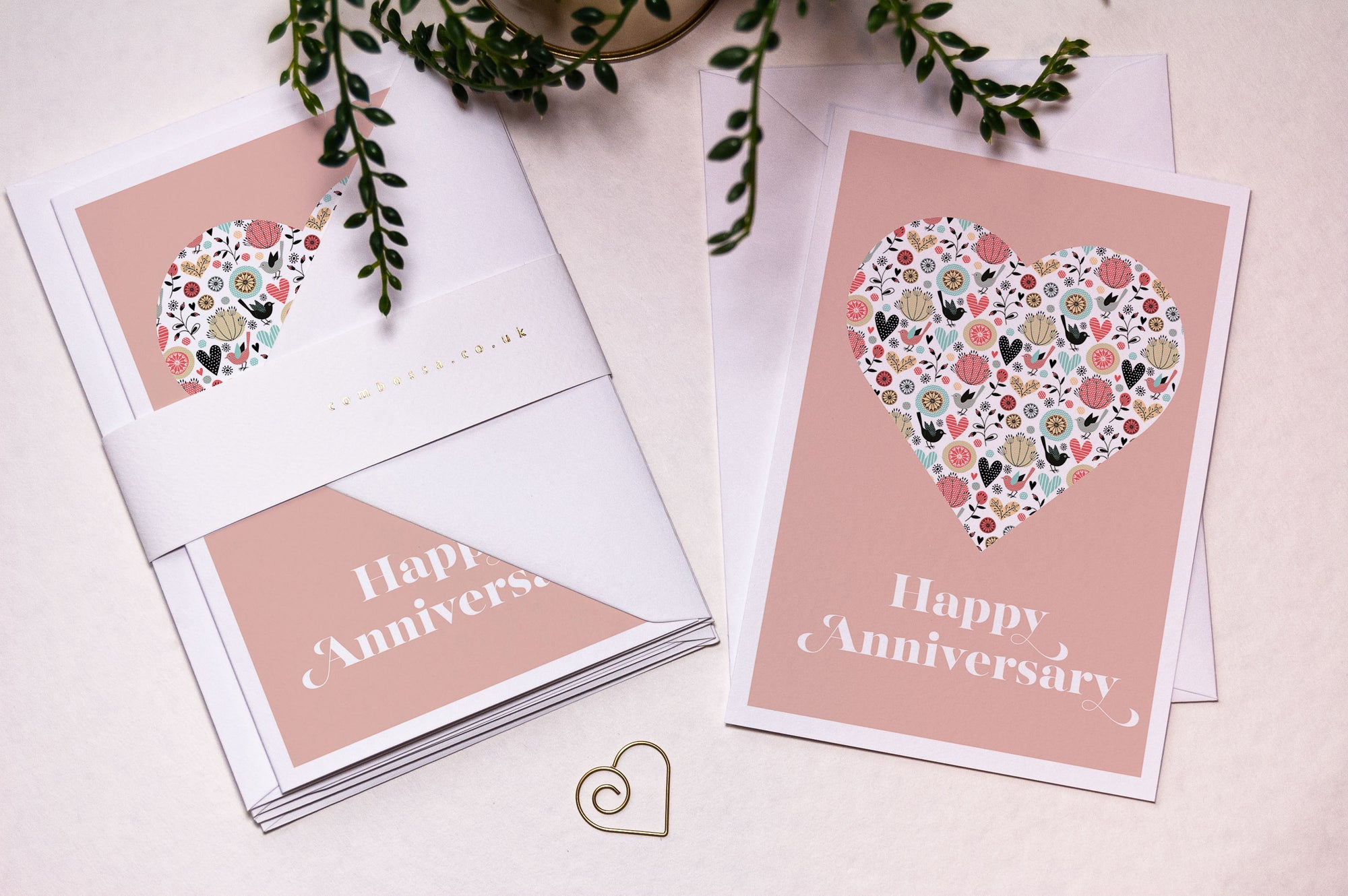 Heart Happy Anniversary Card - Blush