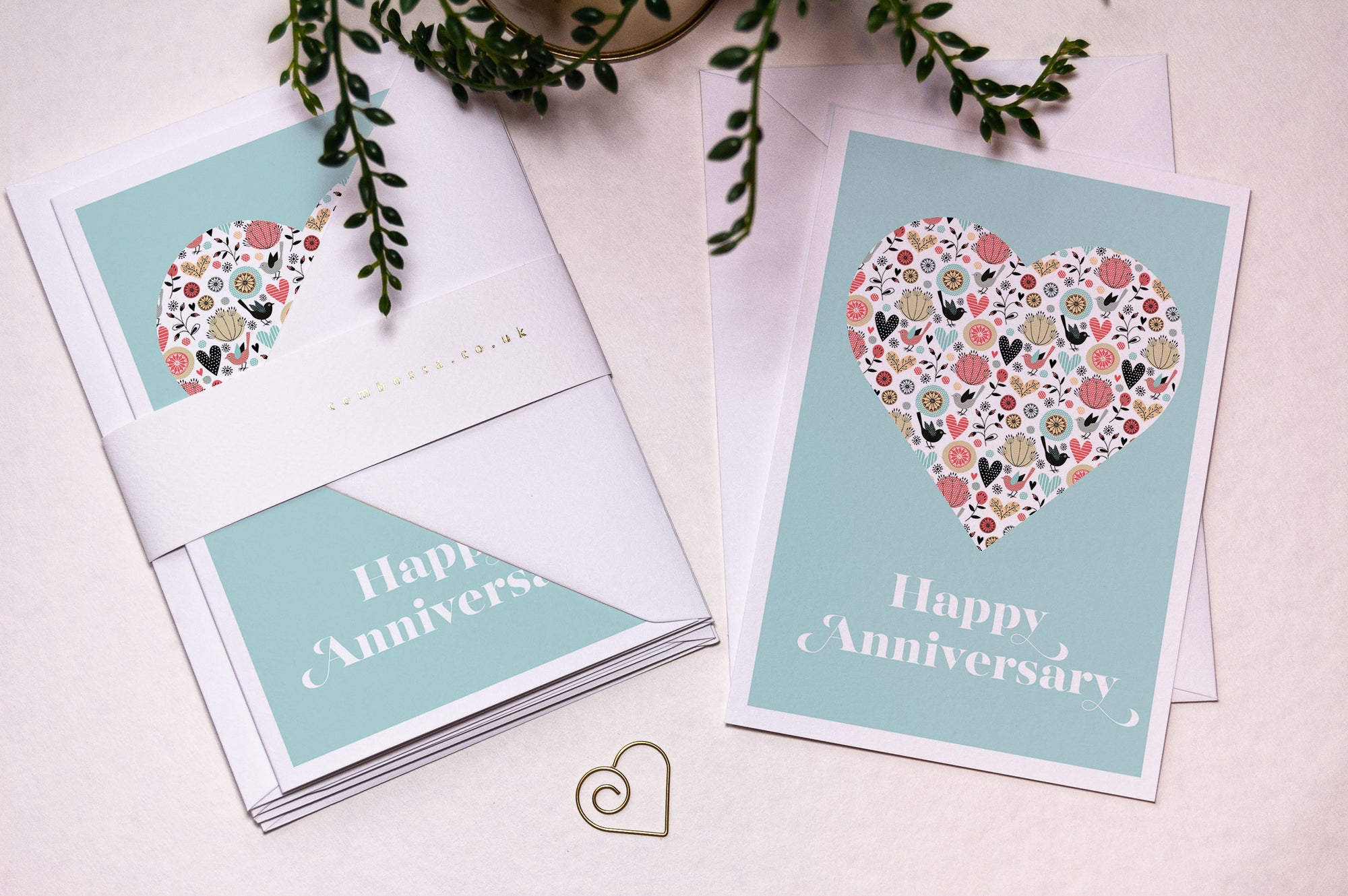 Heart Happy Anniversary Card - Blue