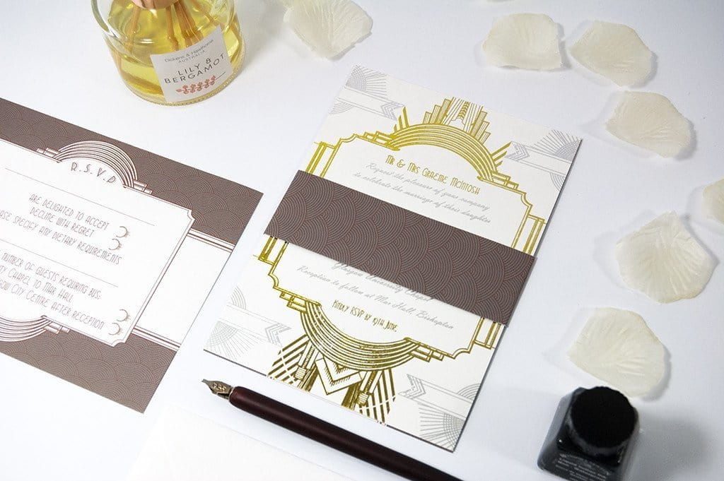 Embossed Wedding Invitation, Art Deco, Great Gatsby - Luxury Wedding Invitations