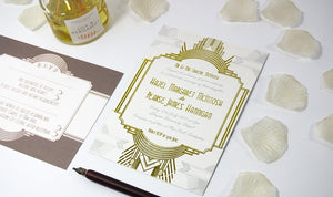 Embossed Wedding Invitation, Art Deco NEW