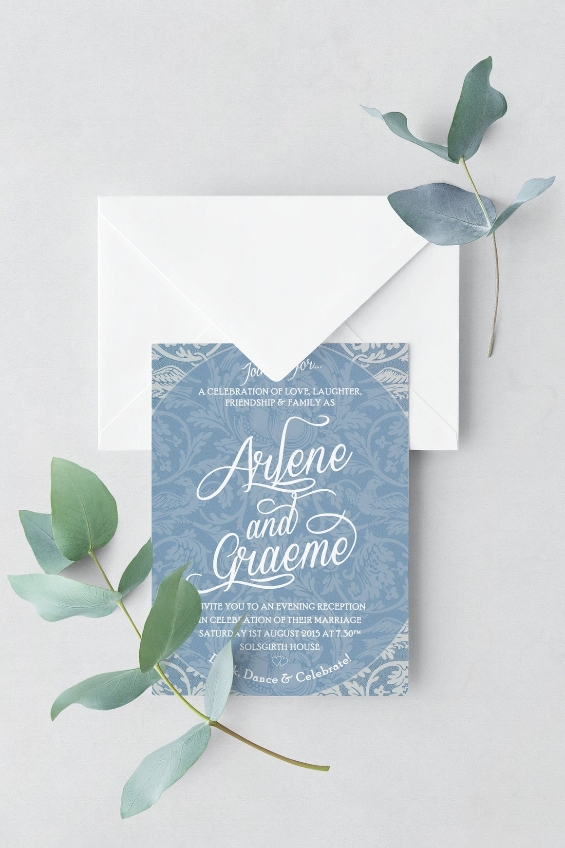 Morris Blue Wedding Invitation, HD Digital Print