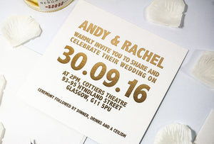 Embossed Wedding Invitation, Bold Type NEW