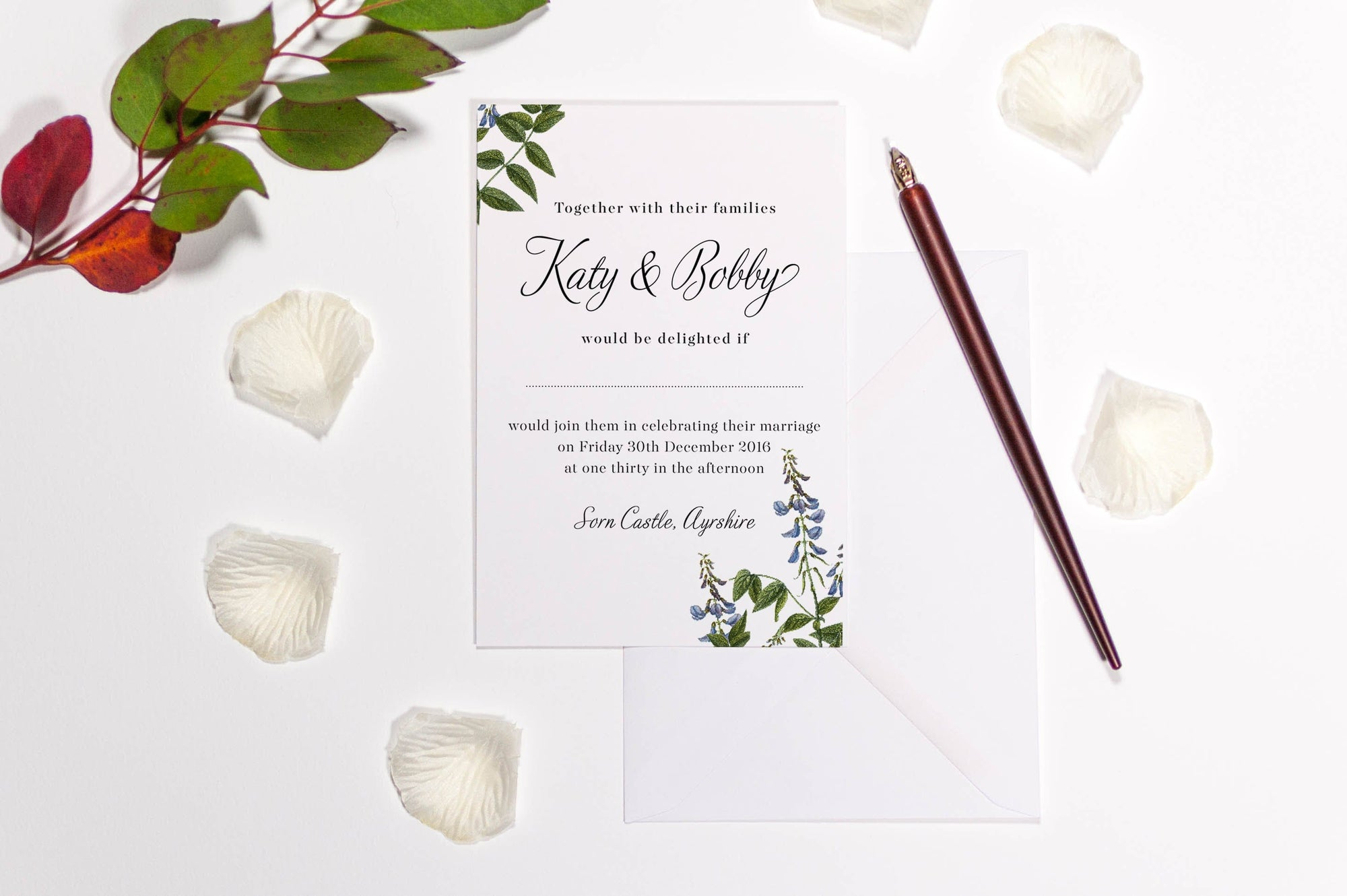 luxuryweddinginvitationsbycombossa HD Printed Wedding Invitations Botanic Bluebells Wedding Invitation, HD Digital Print