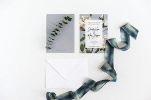 luxuryweddinginvitationsbycombossa Save the Date Sample Save the Date Card / Teal Background (as shown) Save the Date, Teal Botanic Sample