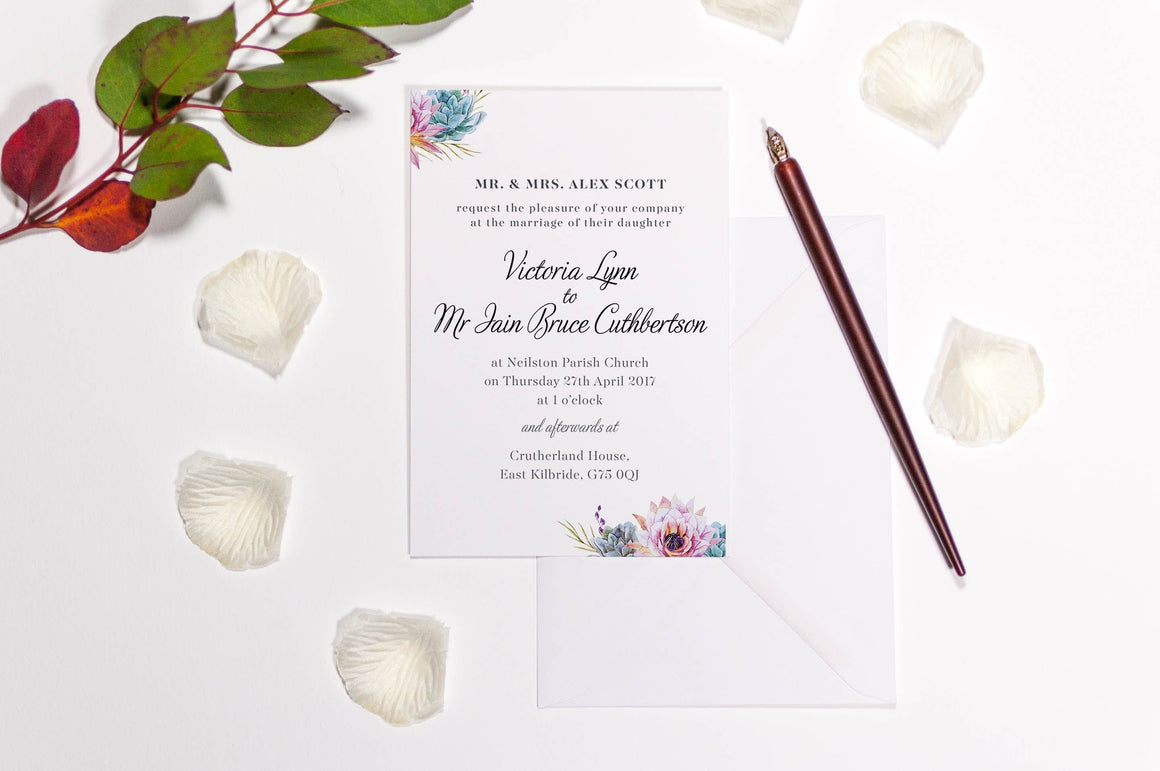 luxuryweddinginvitationsbycombossa HD Printed Wedding Invitations Sample Invitation £1.60 (Colour as shown) / Black Ink Botanic Succulent Blue Wedding Invitation, HD Digital Print, Sample