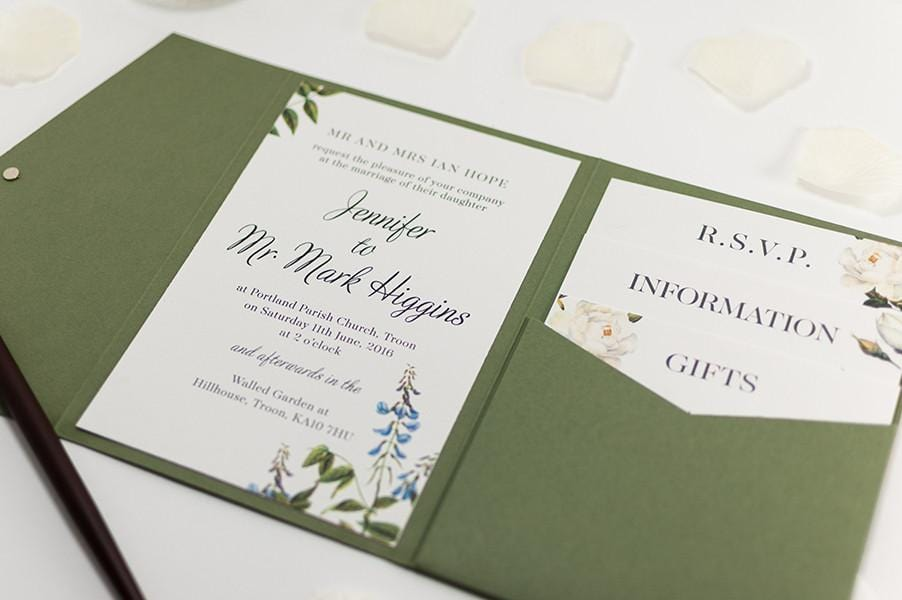 botanic wedding invitation in olive green pocketfold luxury wedding invitations - Luxury Wedding Invitations