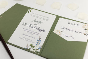 luxuryweddinginvitationsbycombossa Pocketfold Wedding Invitation Botanic Wedding Invitation in Olive Green Pocketfold Wallet