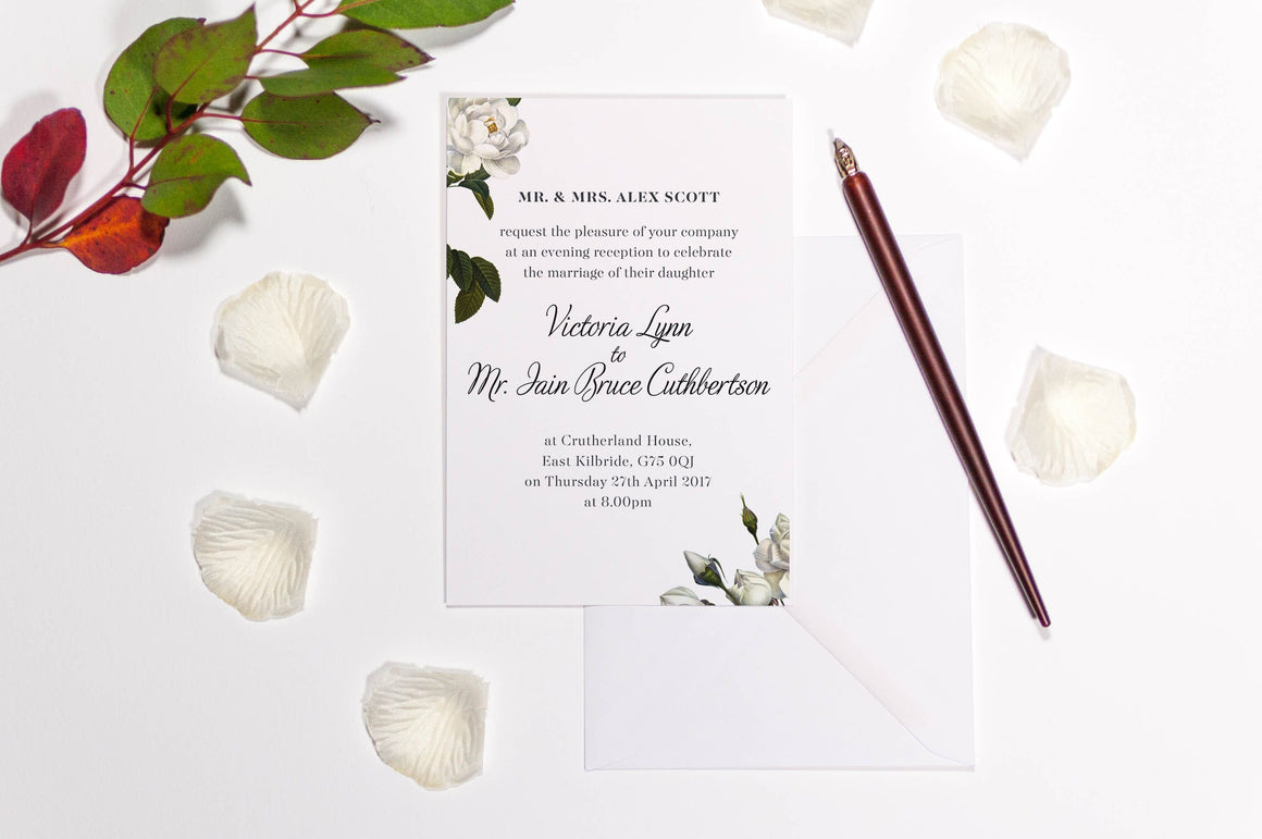 luxuryweddinginvitationsbycombossa HD Printed Wedding Invitations Sample Invitation £1.60 (Colour as shown) / Black Ink Botanic White Rose Wedding Invitation, HD Digital Print Sample