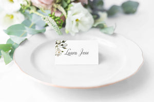 Botanical White Rose, Wedding Place Card