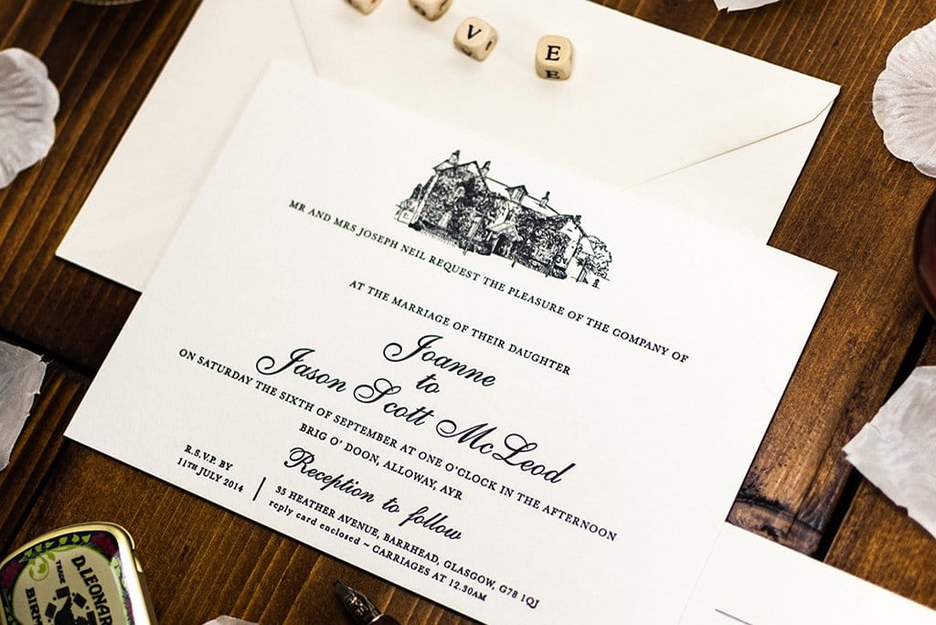 Letterpress Wedding Invitation, Brig o' Doon