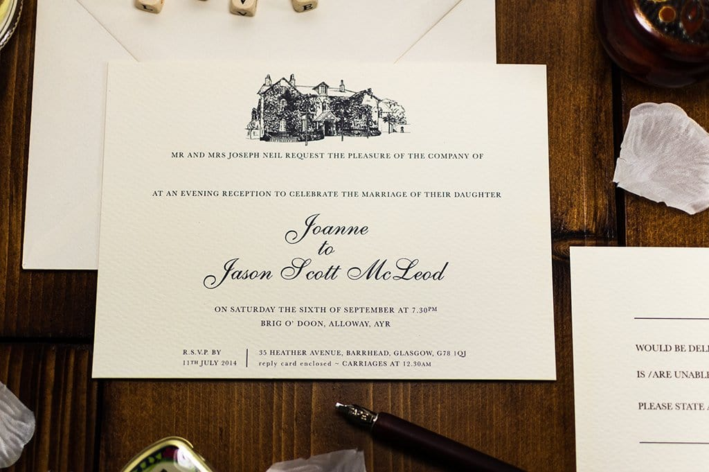 luxuryweddinginvitationsbycombossa HD Printed Wedding Invitations Sample Invitation Brig o' Doon Wedding Invitation, HD Digital Print Sample