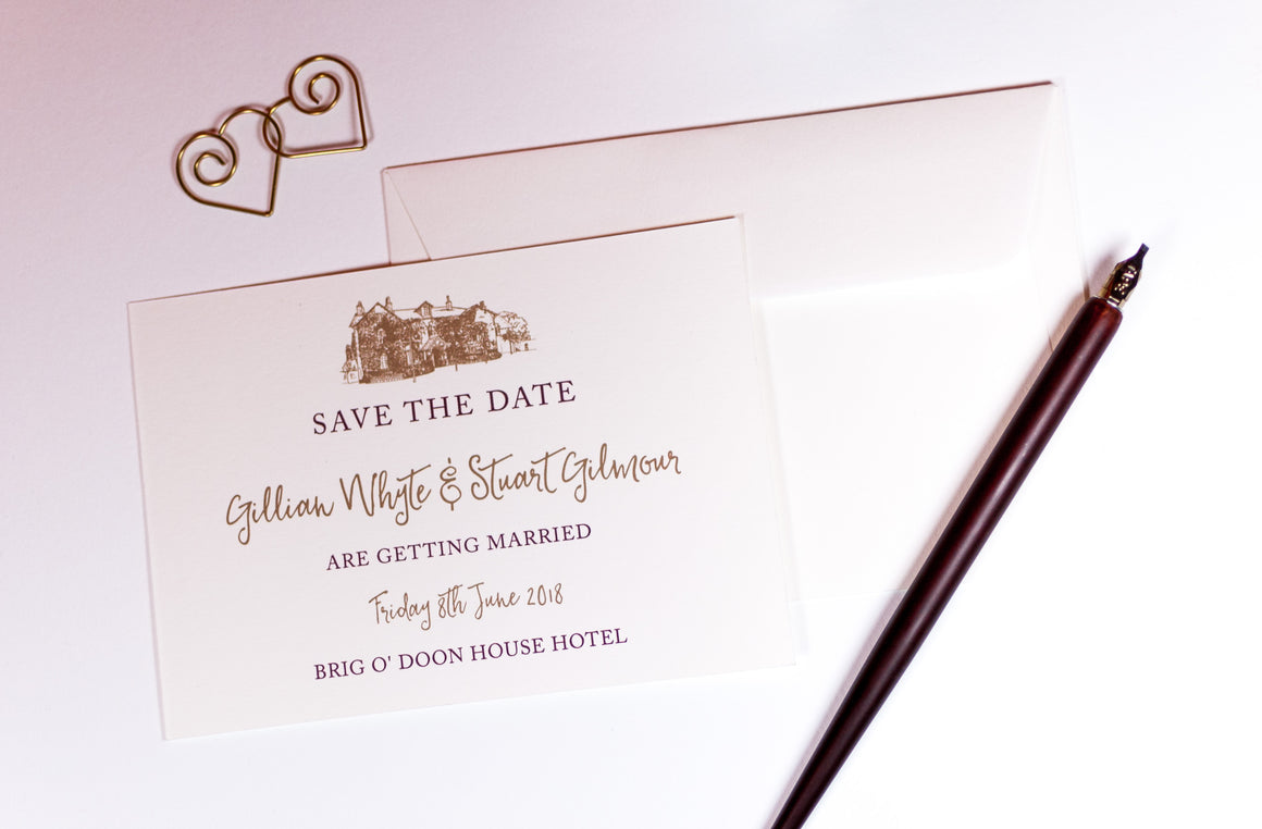luxuryweddinginvitationsbycombossa Save the Date Brig o' Doon Wedding Save The Date Card