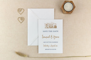 Brympton House, Calligraphy Wedding Save the Date Card
