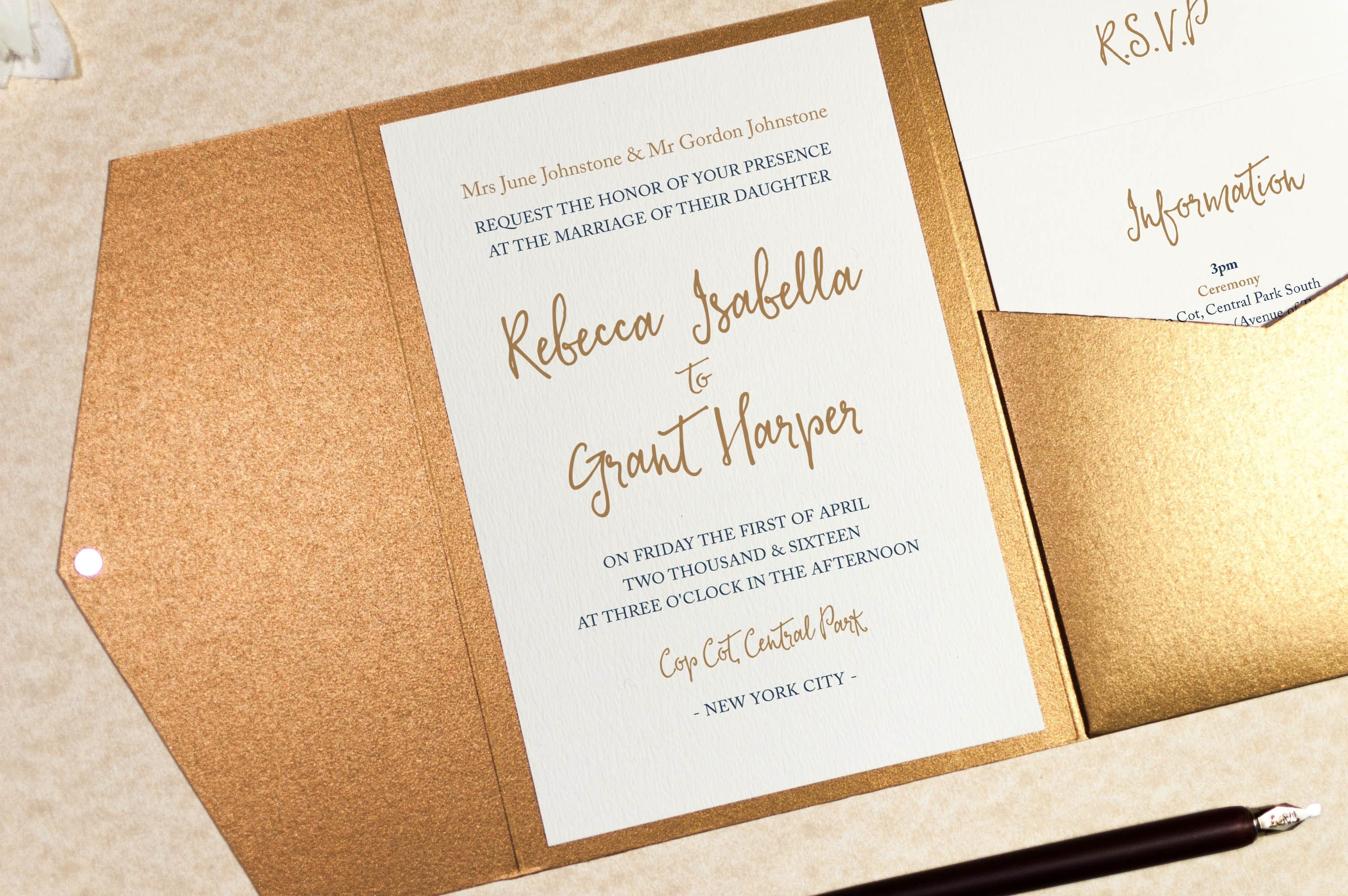 calligraphy wedding invitation in antique gold pocketfold wallet - Wedding Invitation Calligraphy
