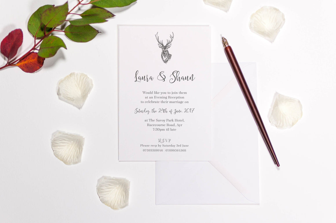Calligraphy and Stag Wedding Invitation, HD Digital Print Sample