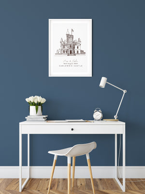 Wedding Anniversary Gift, Personalised Wedding Venue Sketch - Carlowrie Castle, High Quality Print