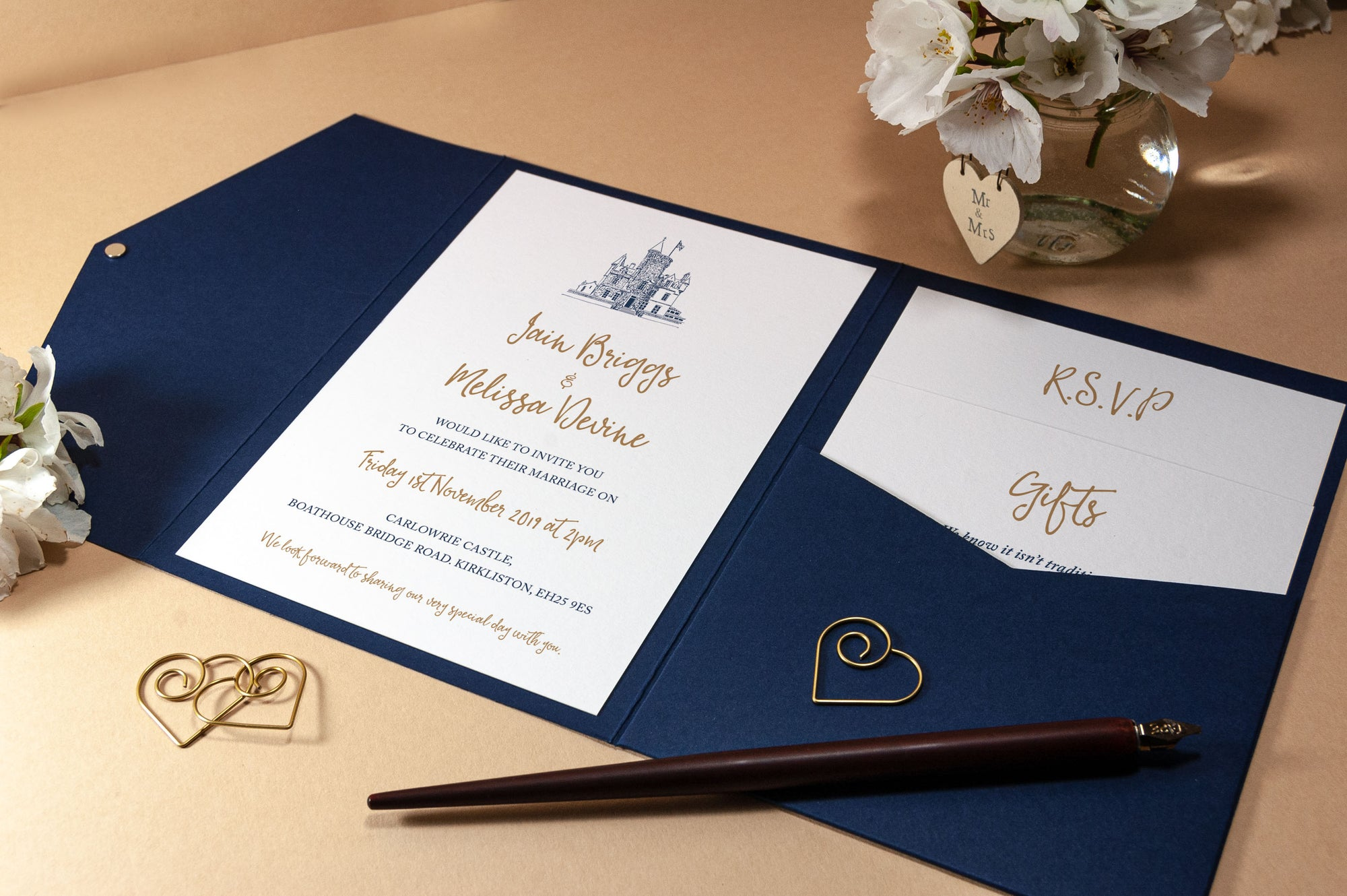 Carlowrie Castle Wedding Invitation in Pocketfold Wallet, Sample