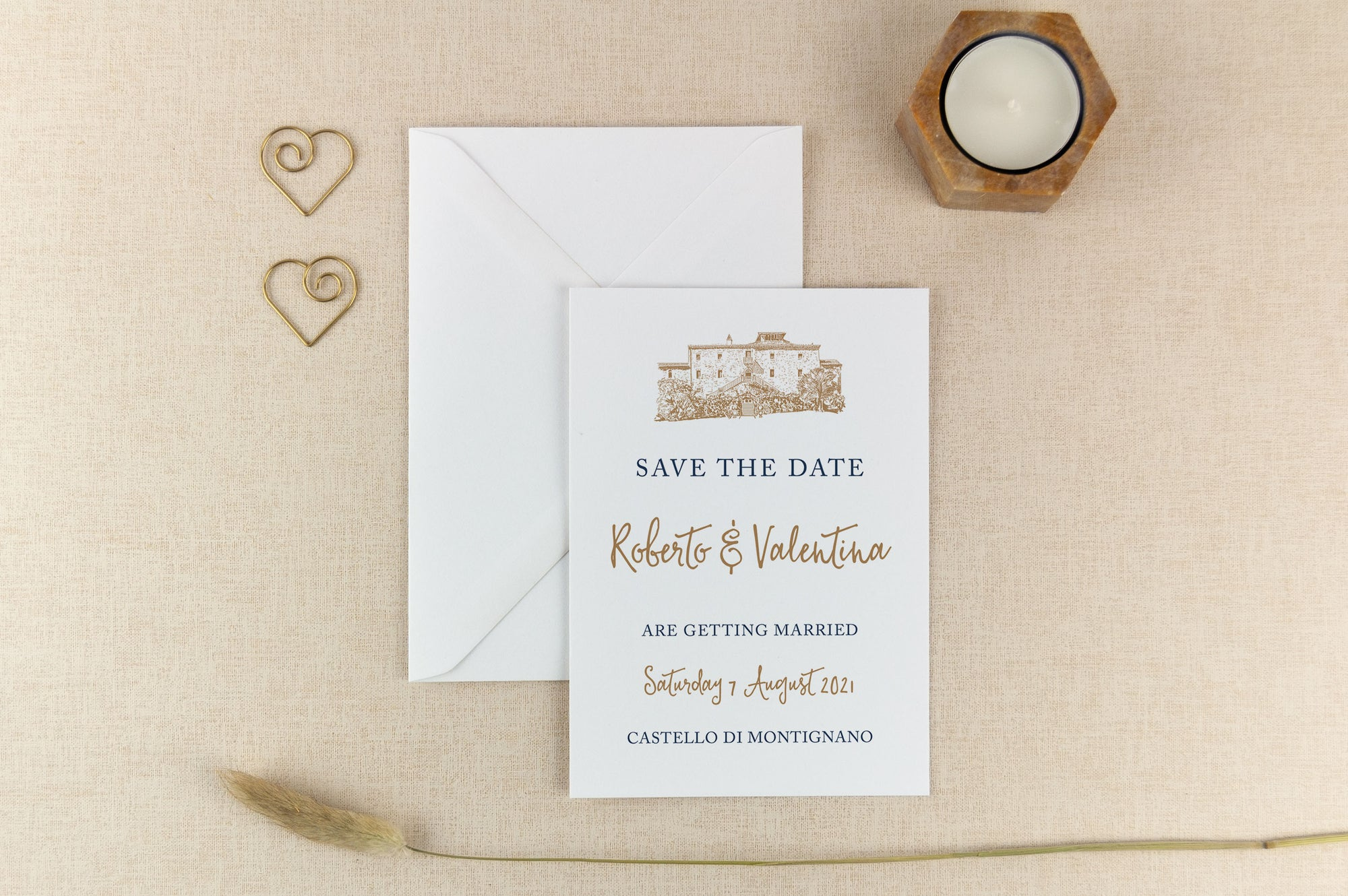 Castello Di Montignano, Calligraphy Wedding Save the Date Card