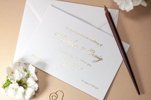 Foil Embossed Wedding Invitation, Elegant Simplicity