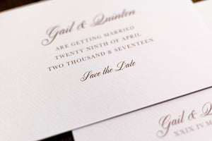 Wedding Save the Date Card with Roman Numerals